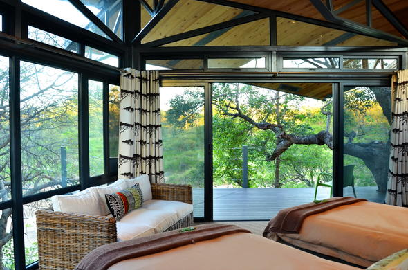 Twin room accommodation is offered at Greenfire Game Lodge.