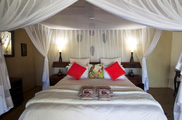 Inside the Paperbark Suite at Naledi Bushcamp.