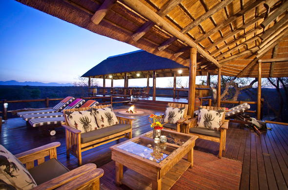 The cosy lounge on the Sausage Tree Safari Camp deck.