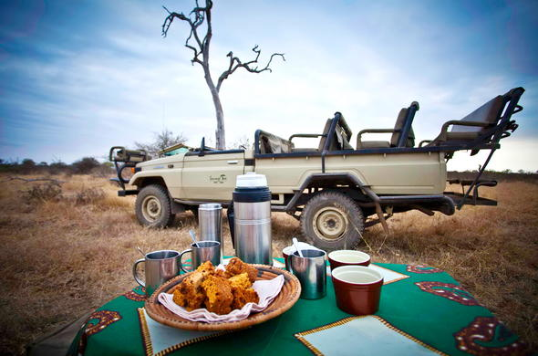 Coffee, tea and nibble served on morning game drives.